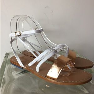 White & Rose gold leather ankle strap sandals 6
